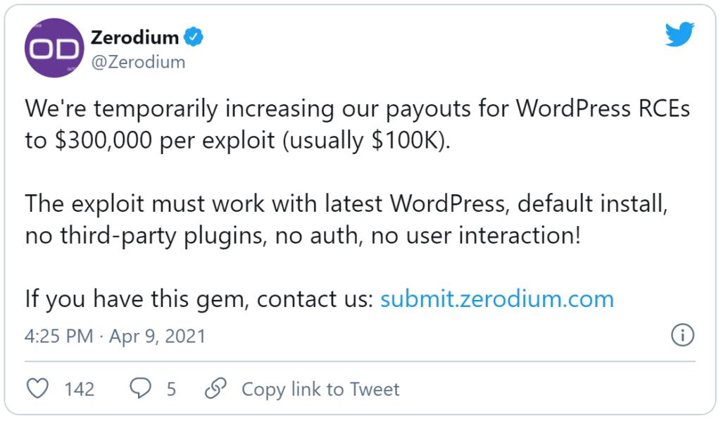 Zerodium twitter post